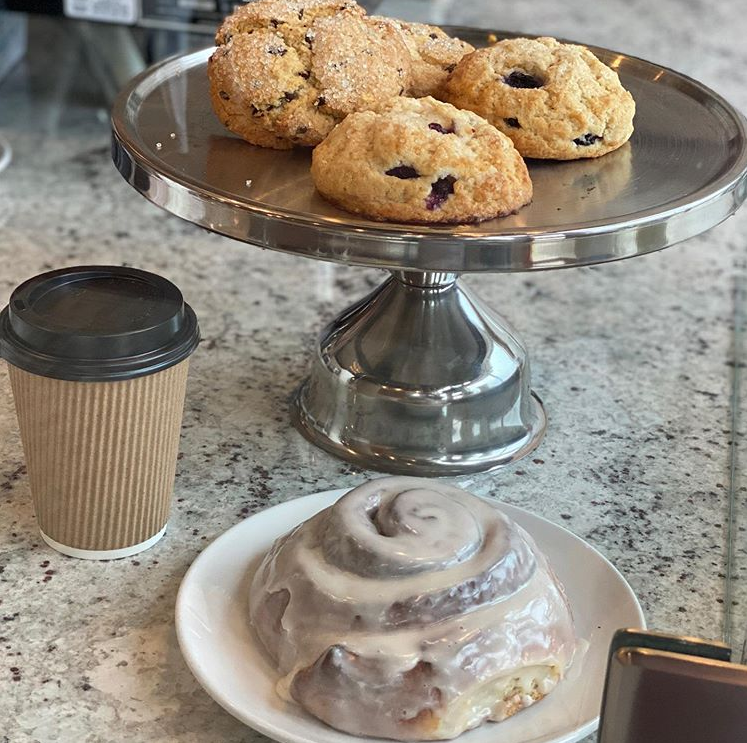 Aurora breakfast made in-house scones and cinnamon rolls with coffee to go in Oklahoma City